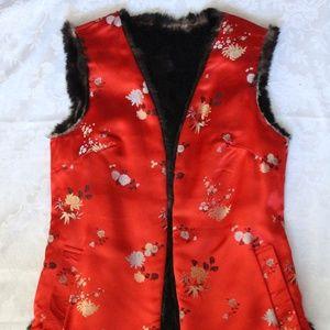 Vintage Reversible Silk and Fur Vest